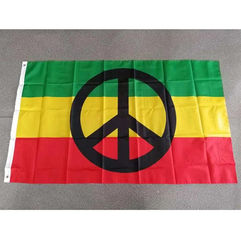 "Drapeau Rasta.<br> ""Peace and Love"". 