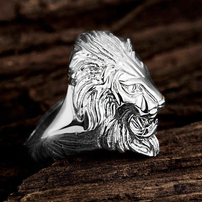 Bague Lion argenté de profile | Rasta Lion