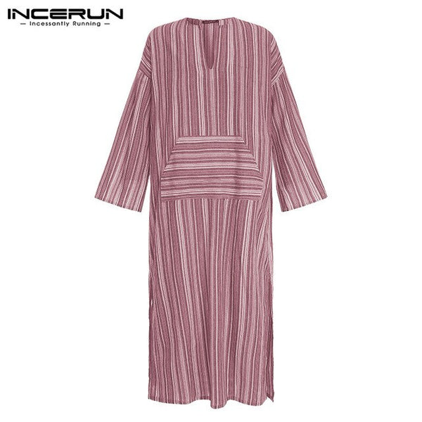Striped V Neck Kaftan