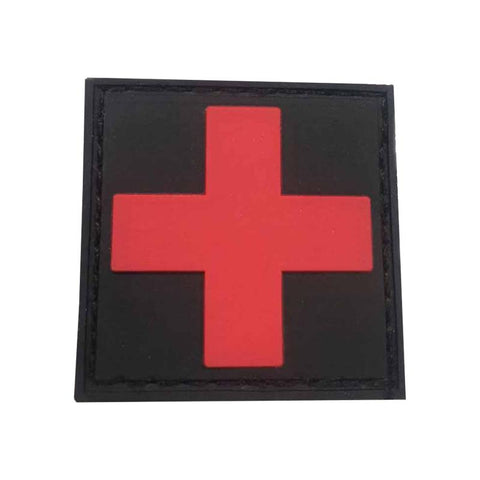 "Red Cross on Black Background Patch 2"" x 2"""