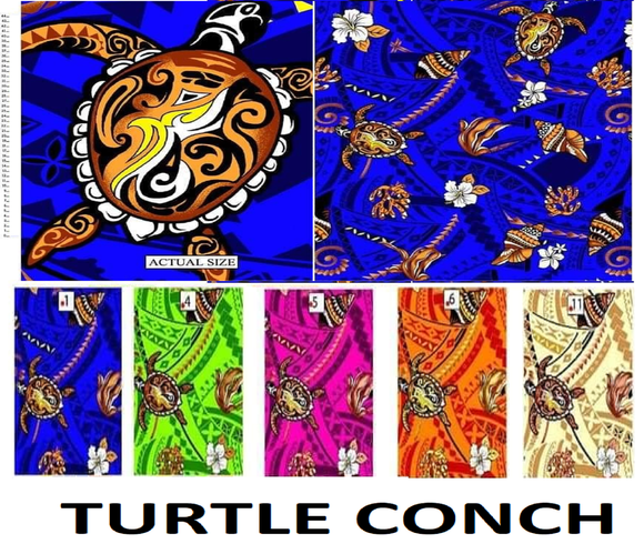 Fabric - Dobby Cotton -TURTLE CONCH FRANGIPANI TAPA with Gold Glitters