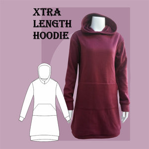 Extra length hoodie sewing pattern