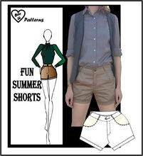 Load image into Gallery viewer, Fun summer shorts sewing pattern
