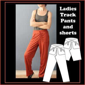 Ladies track pants and shorts sewing pattern