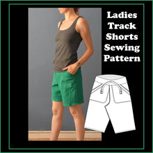 Load image into Gallery viewer, Ladies track pants and shorts sewing pattern