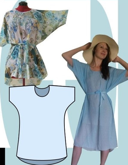 Summer Batwing dress sewing pattern - 2 length combo