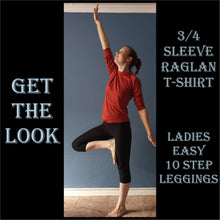 Load image into Gallery viewer, 3/4 sleeve raglan t-shirt sewing pattern