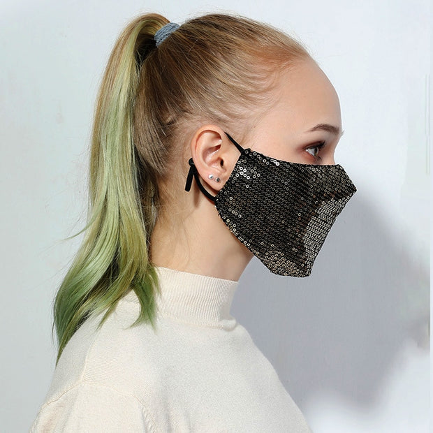 Fashion Sequin Bling Mask Unisex Anti-Dust Filtered Reusable