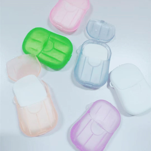 20PCS Travel Soap Paper Washing Hand Bath Clean Scented Disposable