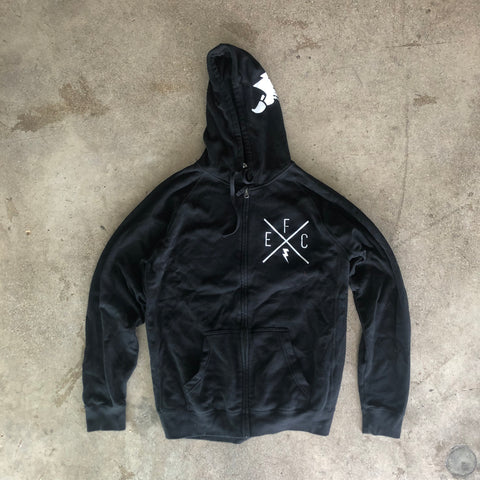 EFC Casual X-Logo Full Zip Unisex Hoodie in Black