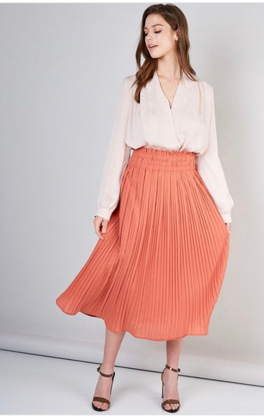 Peach pleated Skirt