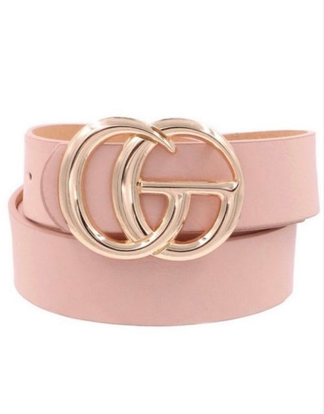 Blush faux leather belt