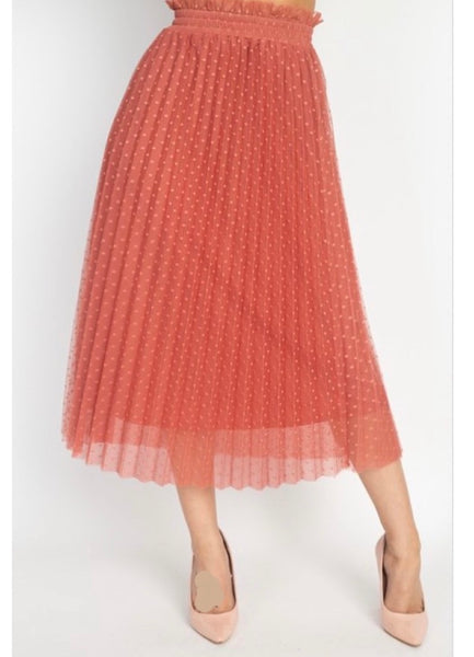 Marsala Polka dot Skirt