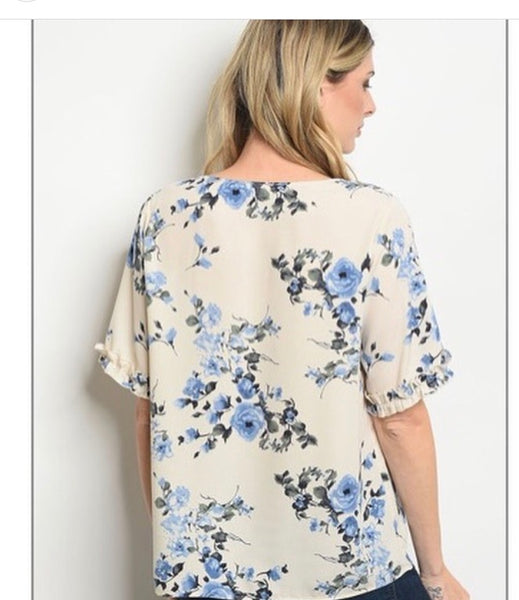 Ivory/Floral chiffon top