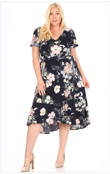 Navy Floral Dress *PLUS*