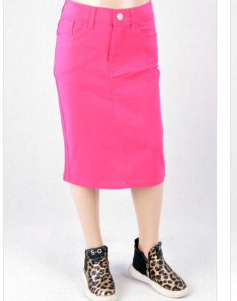Kids* Fuchsia twill skirt