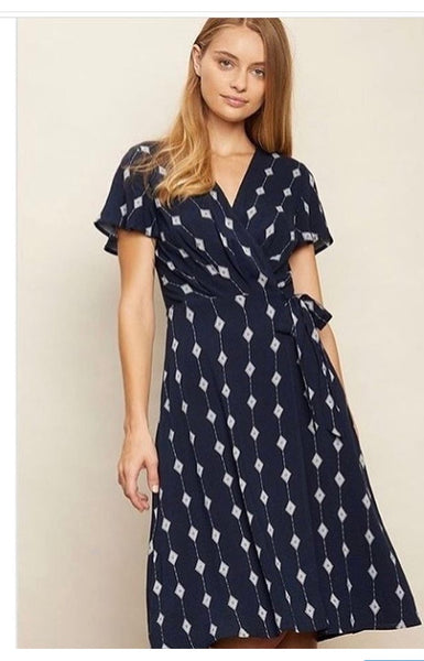 Navy Diamond Printed Dress