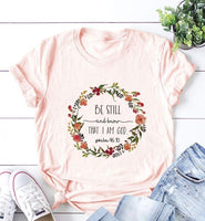 """Be Still"" Floral T-Shirt (pink)"