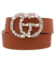 Faux leather rhinestone belt