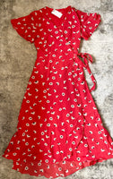 Red Daisies print dress