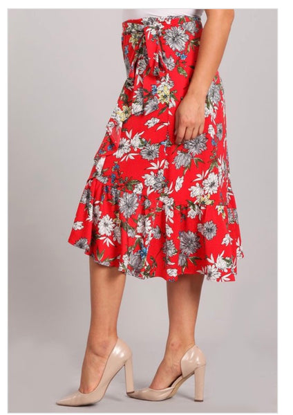 Red Floral Print Skirt *PLUS*