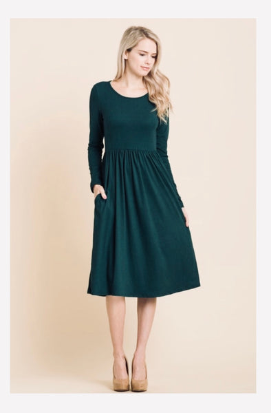 Hunter Green Midi Dress