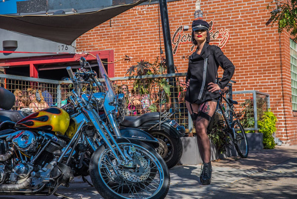 Fashion Designer Center's own Lisa Elsten of LRE Coututre-  Moto Pin-up