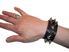 Equillibrium Up-cycled Leather Spiked Cuff Bracelet - Equillibrium - 4