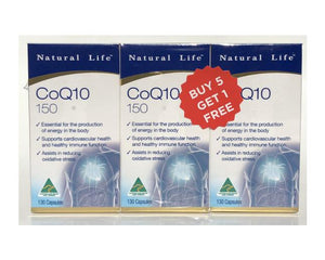 Natural Life Co Q10 150mg 130Cap 6 Pack Bundle