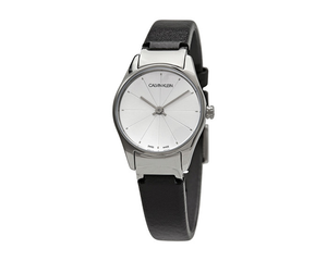 Ck Classic Ladies 24Mm Silver Dial Black Strap