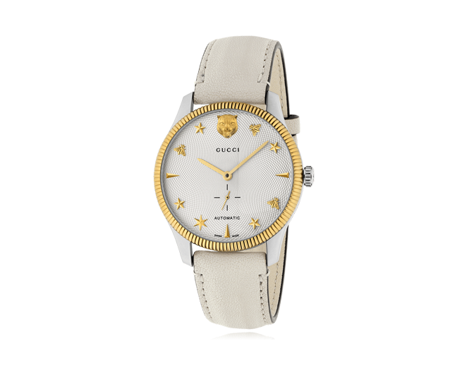 Gucci Timeless Ladies St Lg Silver Dial White Calf Leather Strap