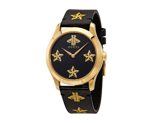 Gucci Timeless Gents Black Star Dial Black Strap
