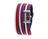 Gucci G Frame Ladies Silver Tone Red White Blue Textile Loop Strap