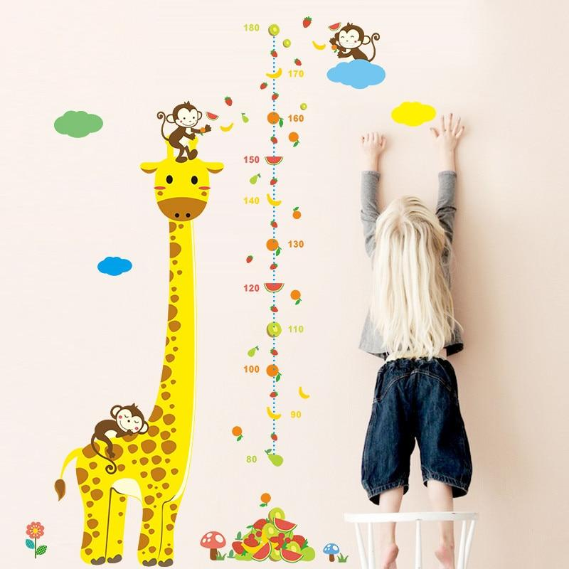Free shipping Cartoon Measure Wall Stickers For Kids Rooms Giraffe Monkey Height Chart Ruler  Decals Nursery Home Decor