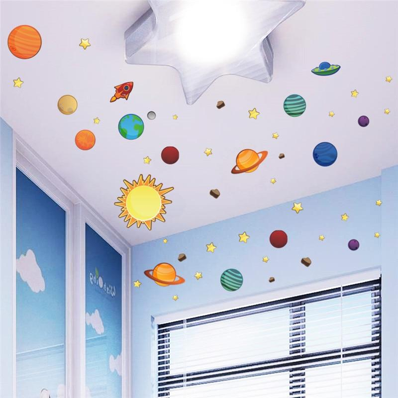 Solar System Cartoon wall stickers for kids rooms Stars outer space planets Earth Sun Saturn Mars poster Mural school decor