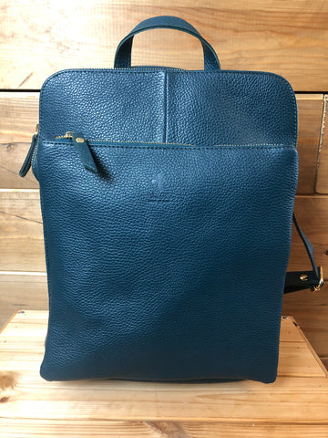 Leather backpack in indigo blue