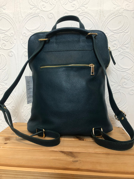 Leather backpack in teal