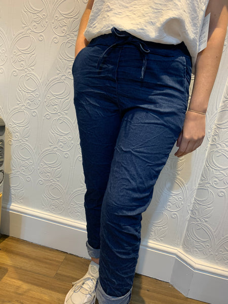 Denim look stretch pants