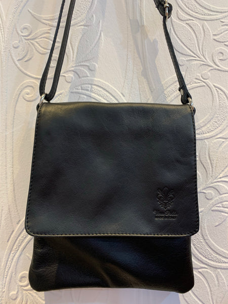 Black leather crossover bag ( small)