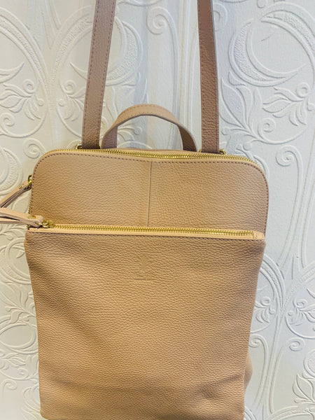 Leather backpack in nude