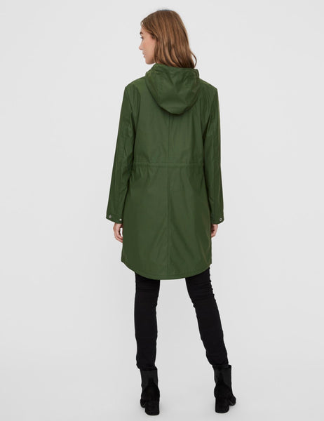 Forest green rain coat