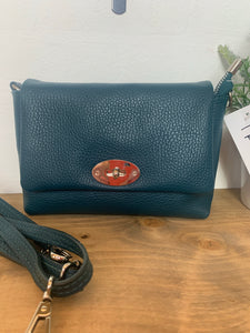 Teal small leather bag