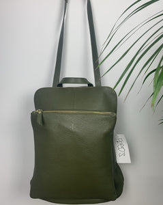 Leather backpack in khaki green