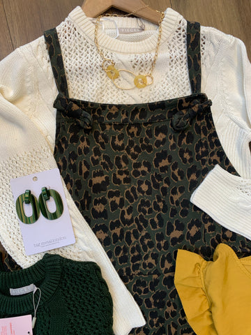 Green Cropped animal print dungarees