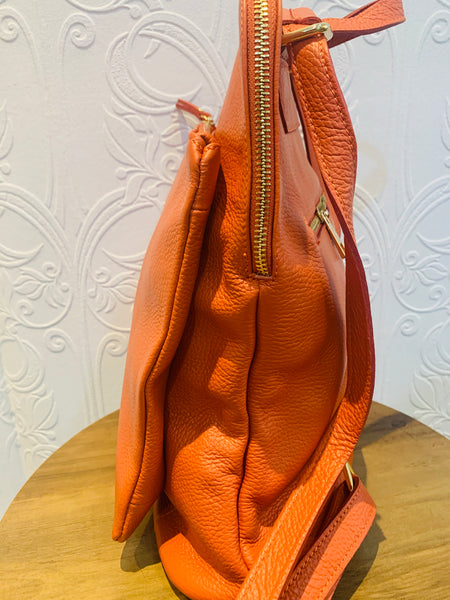 Leather backpack in orange