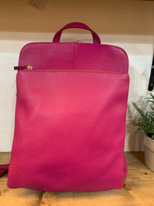 Hot pink leather rucksack