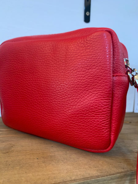 Small red crossover Leather Bag