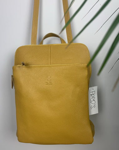 Leather backpack in mustard yellow