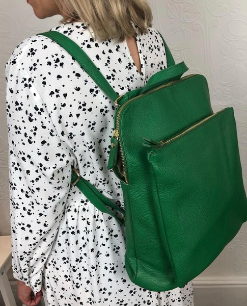 Leather backpack in Emerald green