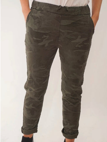 Camouflage green stretch  pants size 14-18